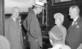 [Lord Halifax talking with friends at the C.P.R. Station during his visit to Vancouver]