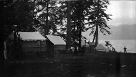 Campers' cottages and tents at [the] foot of Balaclava Street.