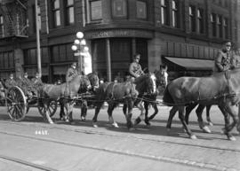68th C.F.A. parade - passing Hudson's Bay Co.