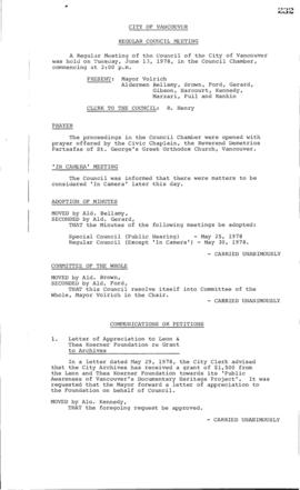 Council Meeting Minutes : June 13, 1978