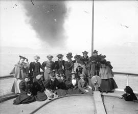[Women's field hockey team on deck of ferry to Victoria]
