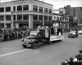 Poster of Roosevelt on truck, World War II parade on Burrard Street