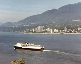 "View CP car ferry, ""Princess of Vancouver"" with North Shore in background"