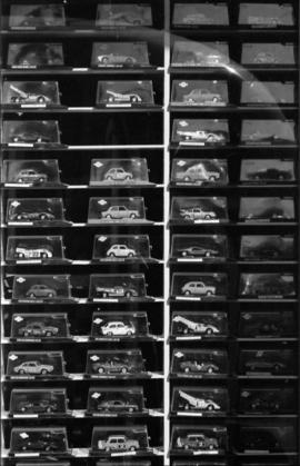 Model cars in  storefront window