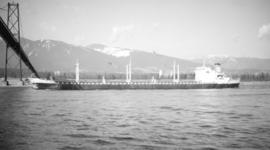 M.S. Olympic Pioneer [passing under Lions Gate Bridge]