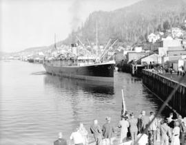 "[View of] ""S.S. Aleutian"" [at Union Steamship dock] Ketchikan harbour."