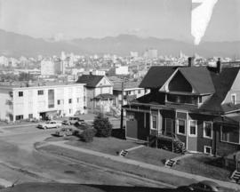 [View looking north east showing apartments and houses in the 2000 block 5th Ave W at Arbutus Str...