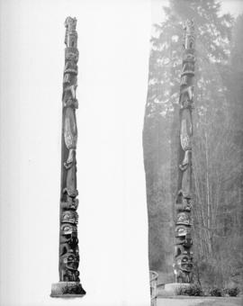 [Two views of a Stanley Park totem pole]