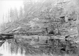 [Men constructing wooden dam in cleared area]
