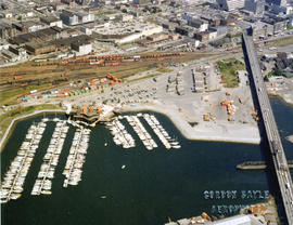 Aerial view of False Creek and Yaletown with Cambie Street Bridge, marina, C.P.R. [Canadian Pacif...