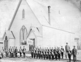 [Boys' Brigade and Band in front of Mount Pleasant Presbyterian Church at 2340 Westminster R...