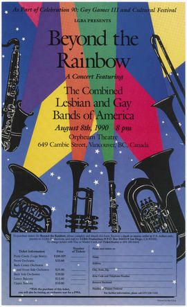 LGBA presents Beyond the Rainbow : a concert featuring the Combined Lesbian and Gay Bands of Amer...