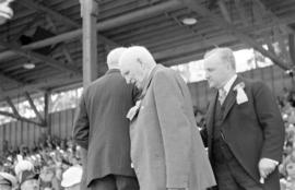 Premier of B.C., Duff Patullo and medal recipient at Brockton Point Grandstand during Golden Jubi...