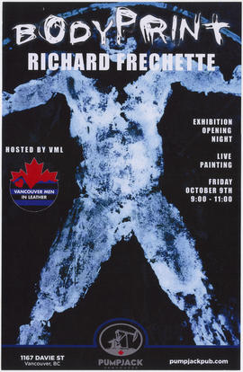 Bodyprint : Richard Frechette : exhibition opening night [at Pumpjack] : Friday, October 9th