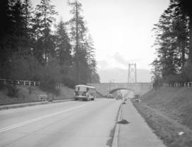 New Pacific Stage bus [at the south end of the Lions Gate Bridge]