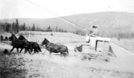 [Board of Trade trip - Men driving stagecoach through field]