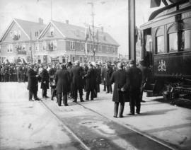 H. R. H. Duke of Connaught opening B.C.E.R. depot, New Westminster