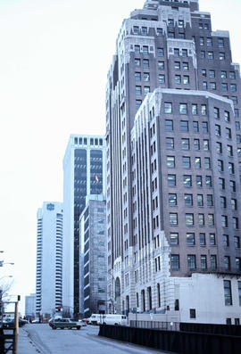 [Side view of the Marine Building, 355 Burrard Street]