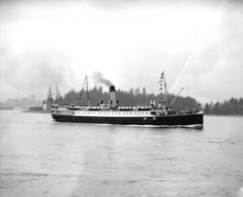 "C.P. steamer ""Princess Mary"" passes Brockton Point, leaving harbour"