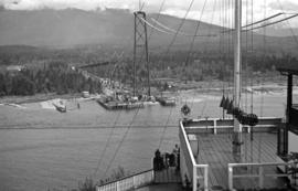 [View from Prospect Point of the Lions Gate Bridge under construction]