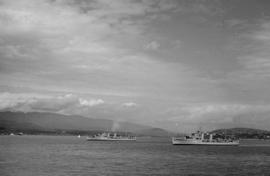 [Warship escort for royal party anchored in Burrard Inlet]