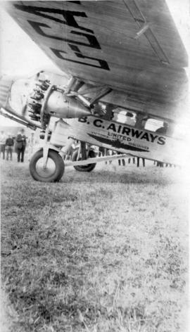 "[Front end of B.C. Airways Ltd. ""Ford Transport"" airplane]"