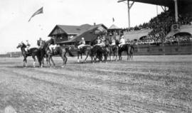 [Riders and horses in front of the grandstand at Minoru Park]