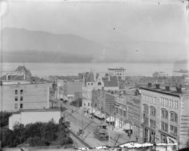 [View of downtown buildings and Burrard Inlet, looking north west from the roof of the Johnstone-...
