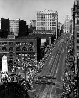 View of 1947 P.N.E. Opening Day Parade route along Hastings St.