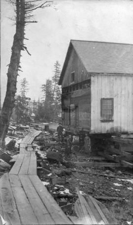 North Pacific Cannery [showing Japanese house after coming down hill]
