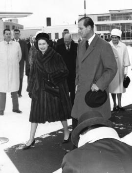 [Her Majesty Queen Elizabeth and His Royal Highness Prince Philip at the airport]