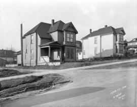 [Houses at 1409 and 1425 Burrard Street, prior to their demolition for Burrard Street Bridge cons...