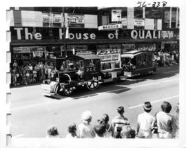 Courtenay Comox float in 1956 P.N.E. Opening Day Parade