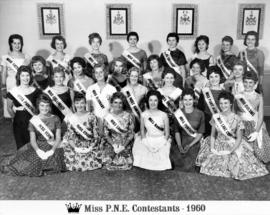 Group portrait of Miss P.N.E. 1960 contestants