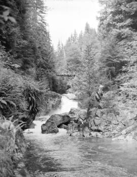 [Boys fishing in Lynn Creek at] Lynn Valley