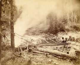 [View of the first Capilano Creek dam under construction]
