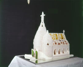 Model of a church made of sugar cubes by chef at Ramada Inn, Vancouver