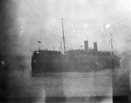 """A Safe Passage"" - The Missanabie in dock at Plymouth after disembarking the 47th Batta..."