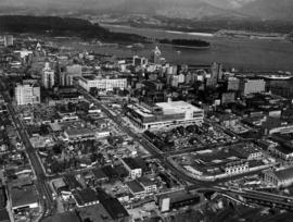 Aerial view of the downtown core, post office under construction