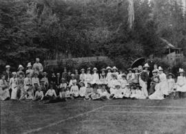 [Children's party on tennis court at Benjamin Springer's residence]