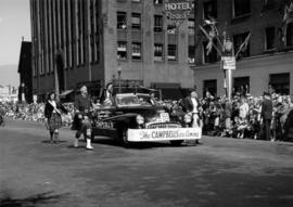 Campbells decorated car in 1947 P.N.E. Opening Day Parade