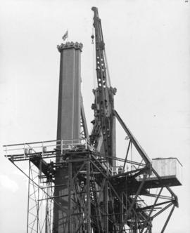 "The Union Jack marks ""the top"" - it is tradition among steel workers to fly the flag wh..."