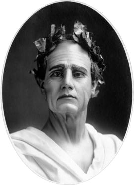 [Portrait of Alfred T. Layne, actor in role or Roman with laurel wreath and toga]
