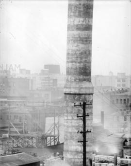 [Lower portion of concrete smoke stack from reconstruction of Vancouver Steam Plant]