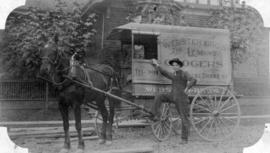 [Webster Bros. Grocers' horse drawn delivery wagon]