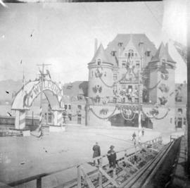 [C.P.R. station at the foot of Granville Street decorated for the visit of the Duke and Duchess o...