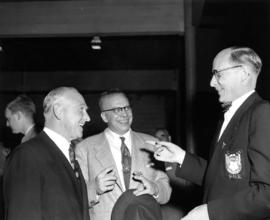 Dr Joe [Kavia?] (centre) CBC : [with J. Dunsmuir and V.B. Williams]