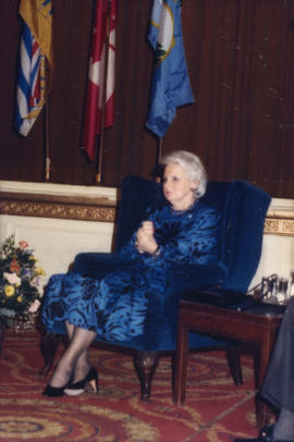 Jeanne Sauvé seated at front of Grand Ballroom