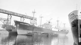 M.S. Johanna Oldendorff [at dock, with barges alongside]