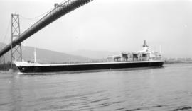 M.S. J.V. Clyne [passing under Lions Gate Bridge]